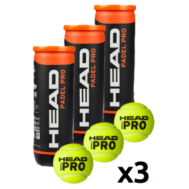 Head Padel Pro Balls (Pack x 3 boat) - Padel tennis Shop